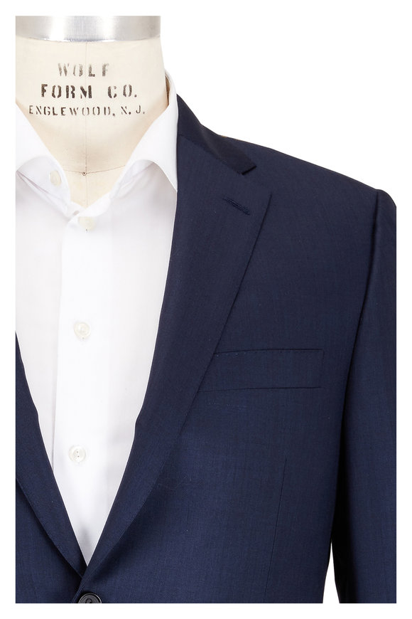 Hickey Freeman Beacon Solid Navy Blue Wool Suit