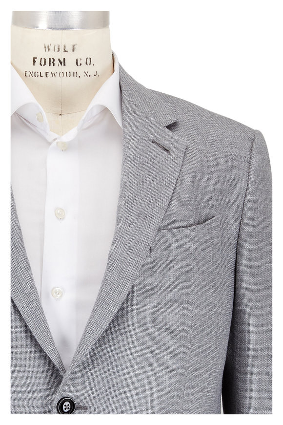 Ermenegildo Zegna Solid Gray Cashmere Blend Sportcoat