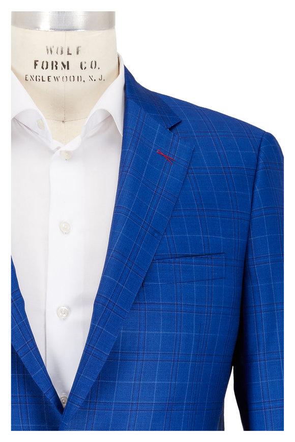 Samuelsohn Blue Plaid Wool Sportcoat