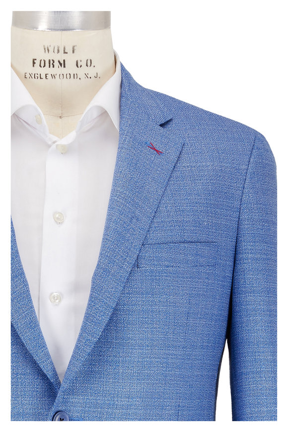 Samuelsohn Solid Blue Wool Sportcoat