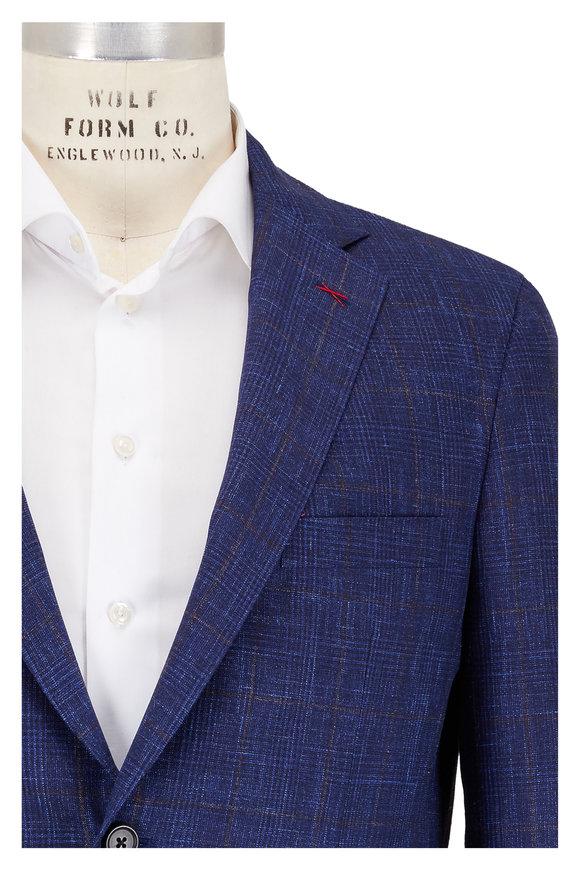 Samuelsohn Navy Blue Tonal Plaid Wool, Silk & Linen Suit
