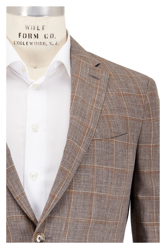 Luciano Barbera Tan Wool & Silk & Linen Windowpane Sportcoat