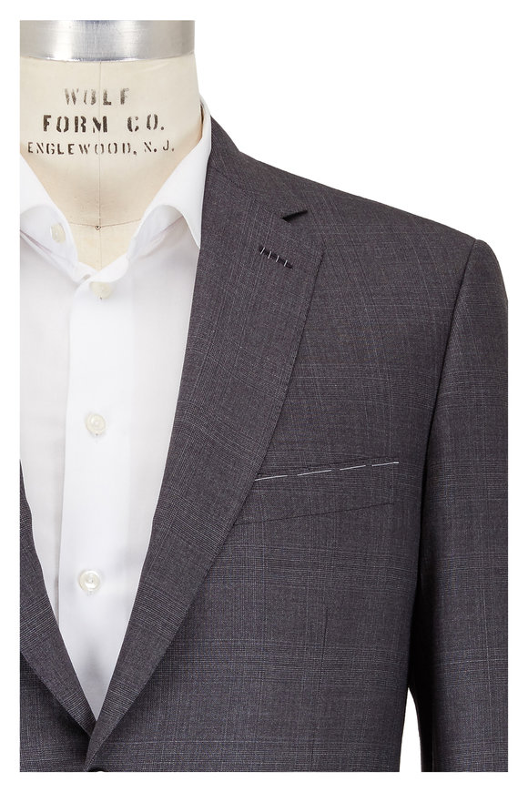 Brioni Charcoal Gray Tonal Plaid Wool Suit