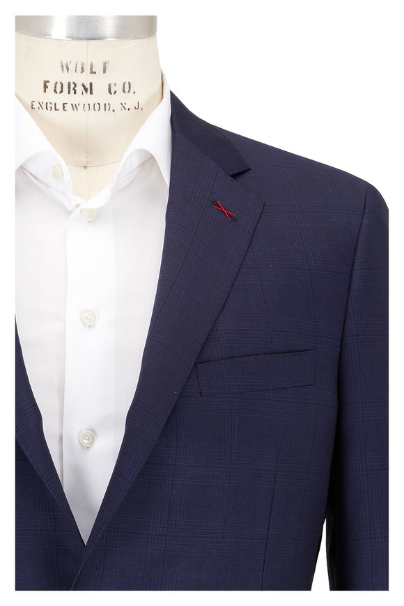 Samuelsohn Navy Blue Tonal Plaid Wool Suit
