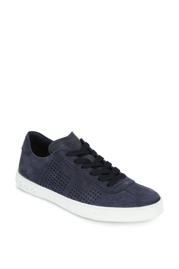 Tod's Navy Blue Suede Perforated Sneaker