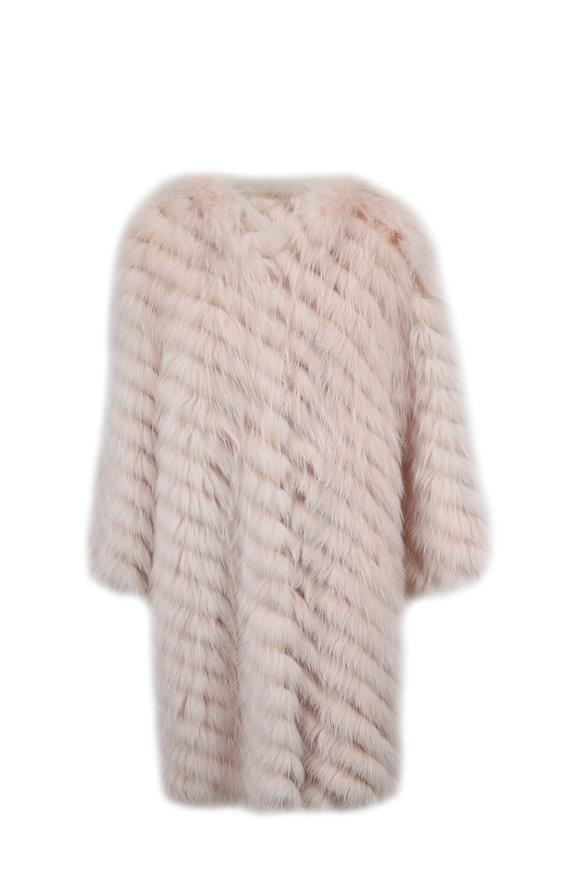 Oscar de la Renta Furs Blush Arctic Marble Fox Diagonal Stripe Long Coat