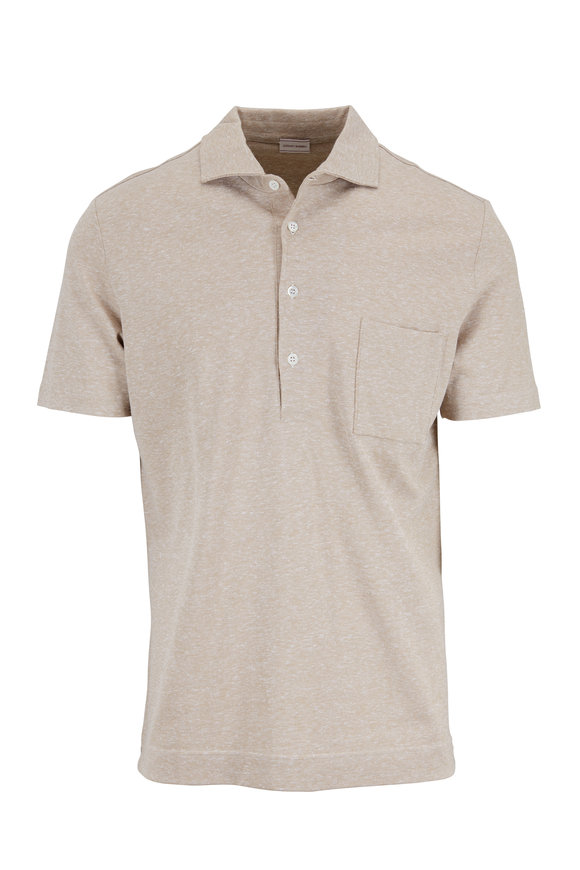 Luciano Barbera Tan Cotton & Linen Piquè Pocket Polo