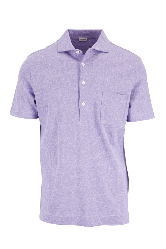 Luciano Barbera Purple Cotton & Linen Piquè Pocket Polo