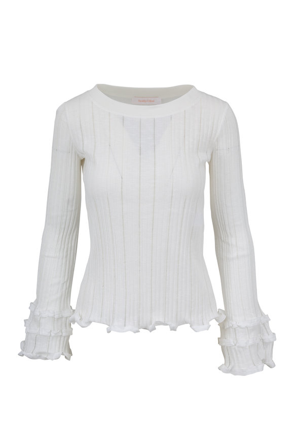 See by Chloé White Powder Cotton Ribbed Top