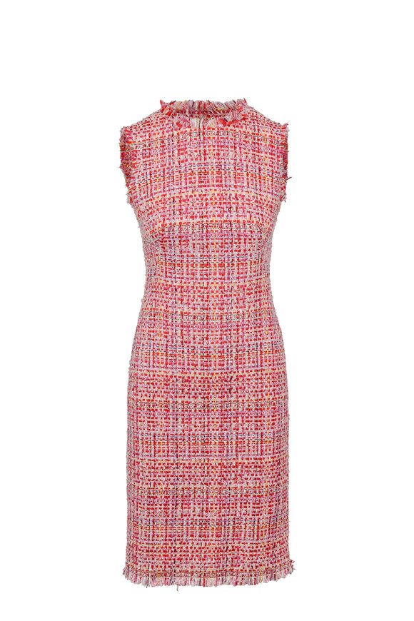 Alexander McQueen  Red Ribbon Tweed Fitted Sleeveless Dress