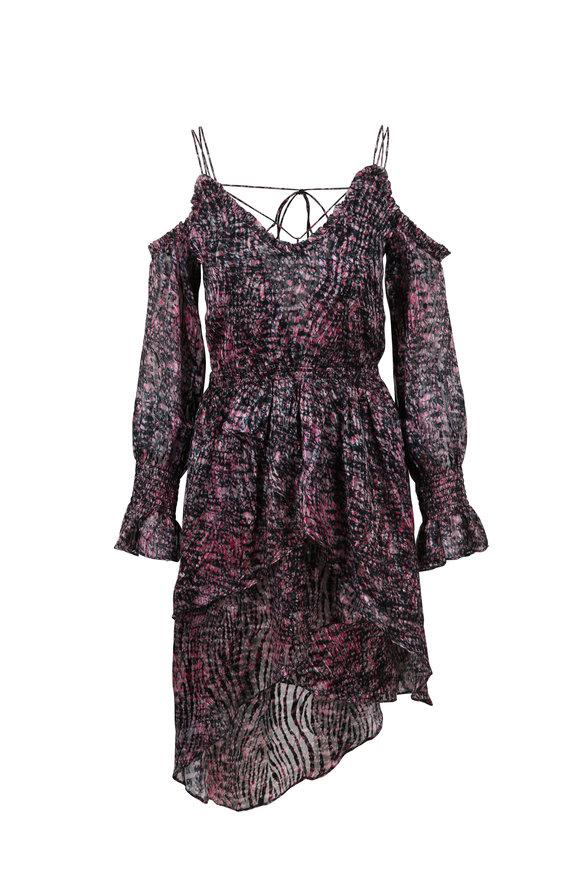 IRO Eloma Pink Printed Cold Shoulder Dress