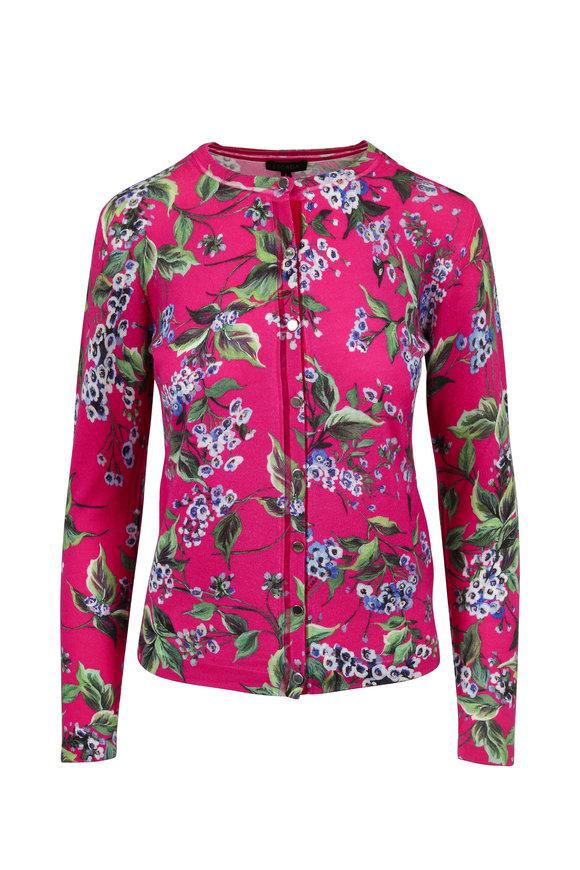 Escada Sewanda Open Wool & Silk Floral Cardigan