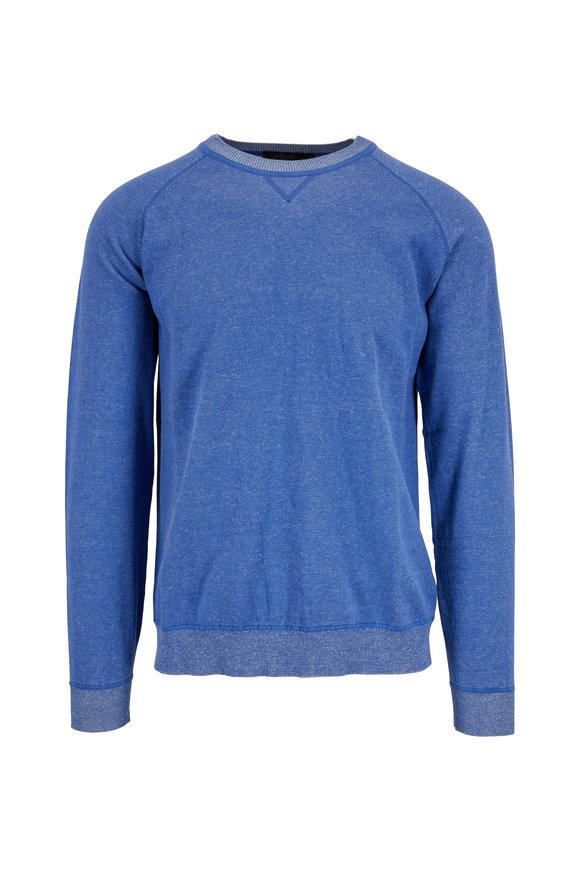 Raffi  Denim Blue Cotton Crewneck Sweater