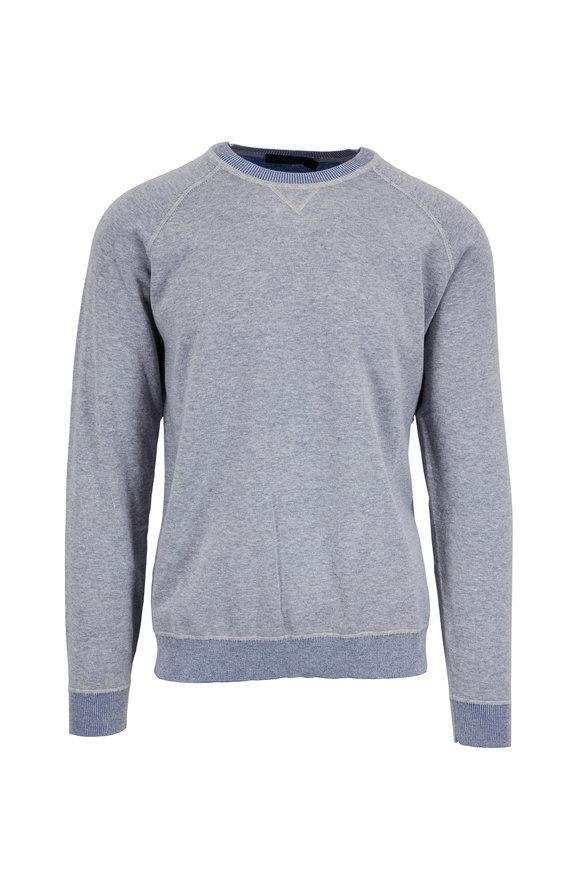 Raffi  Gray Cotton Crewneck Raglan Sweater