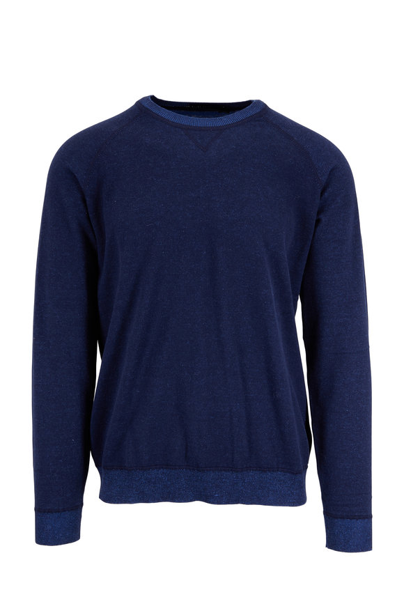 Raffi  Navy Cotton Crewneck Sweater