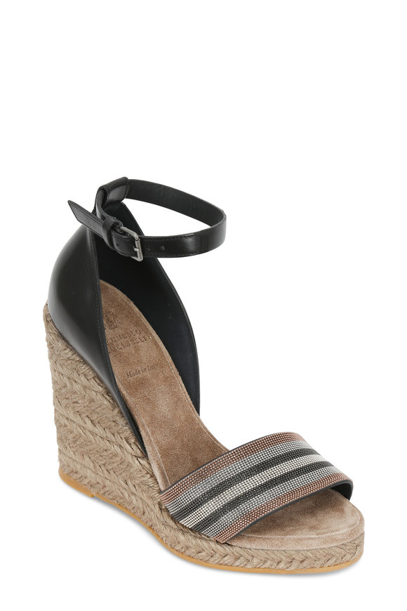Brunello Cucinelli Black Multi Monili Espadrille Sandal, 100mm