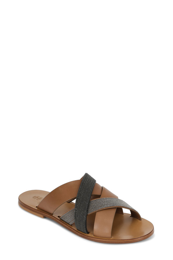 Brunello Cucinelli Tobacco Thick Monili Strap Flat Slide