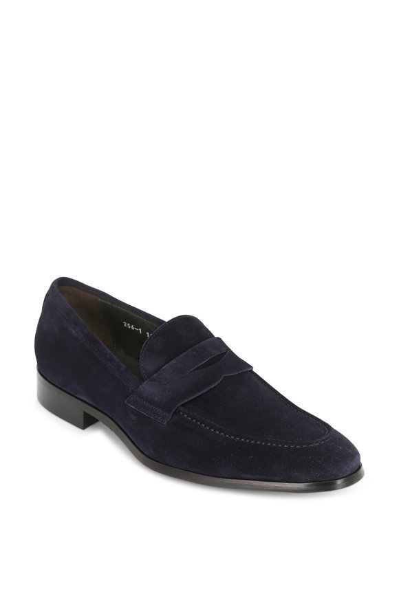 To Boot New York Keeler Navy Blue Suede Penny Loafer