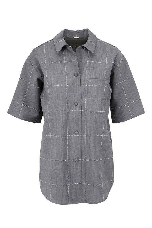 Adam Lippes Gray & Ivory Windowpane Short Sleeve Blouse