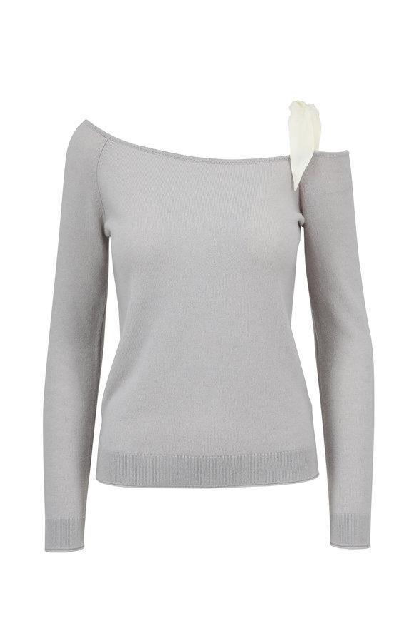 Raffi  Gray Cashmere One-Shoulder Sweater