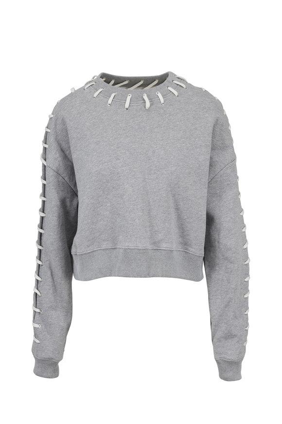 Jonathan Simkhai Gray Cotton Whipstitch Sweatshirt