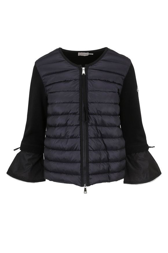 Moncler Maglia Quilted & Knit Bell Sleeve Jacket