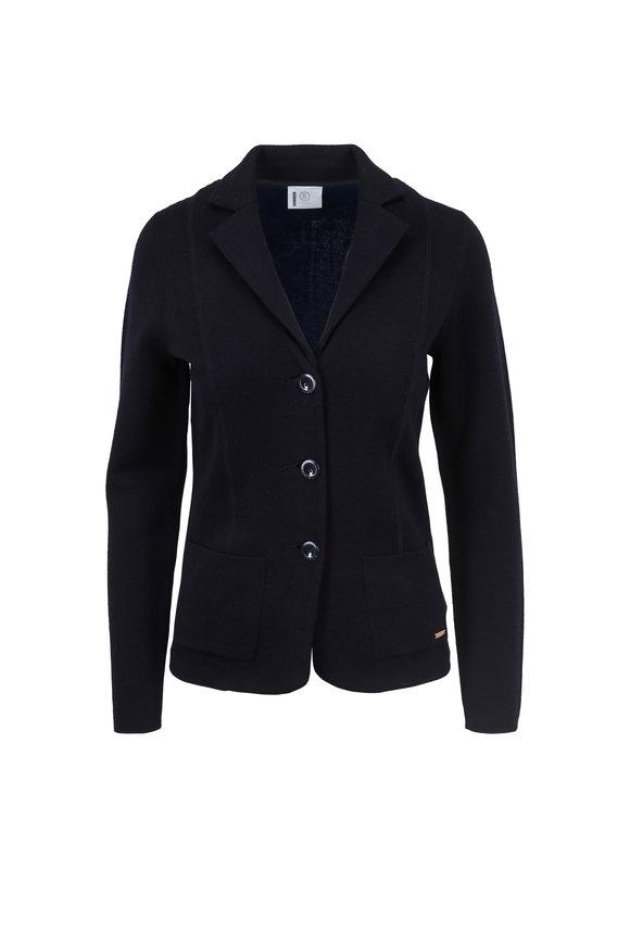 Bogner Navy Blue Knit Blazer