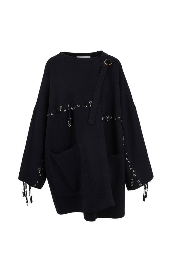 Chloé Navy Wool Metallic Charm Blanket Coat