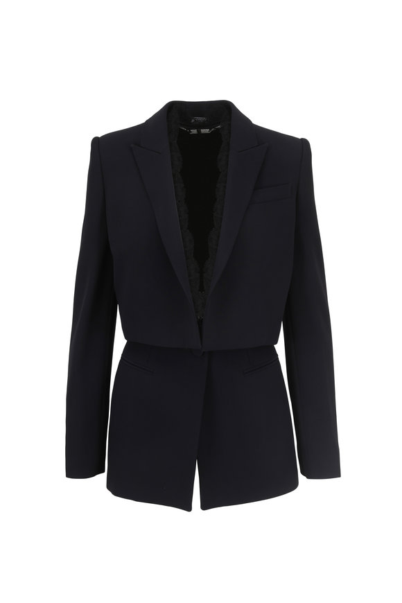 Alexander McQueen Black Lace Trim Single Breasted Jacket