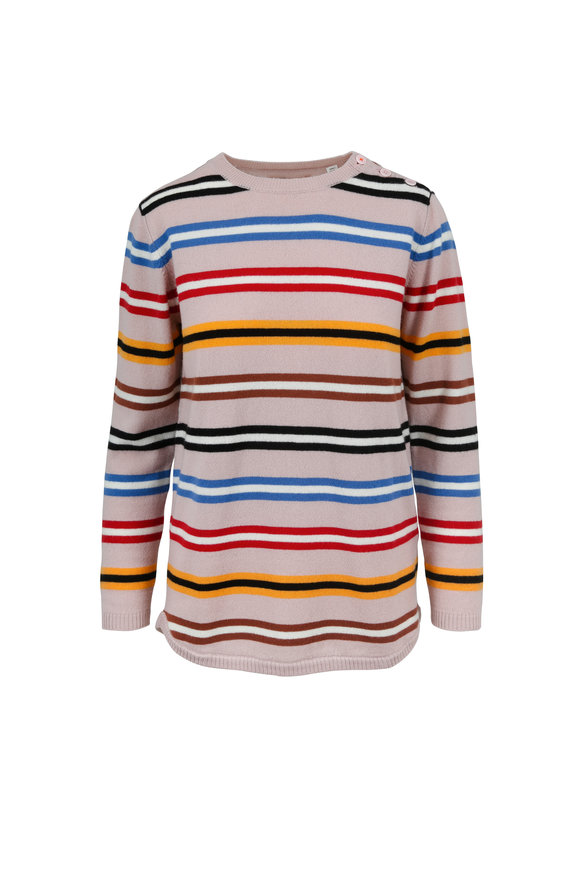 Chinti & Parker Pink Multicolor Striped Cashmere Sweater