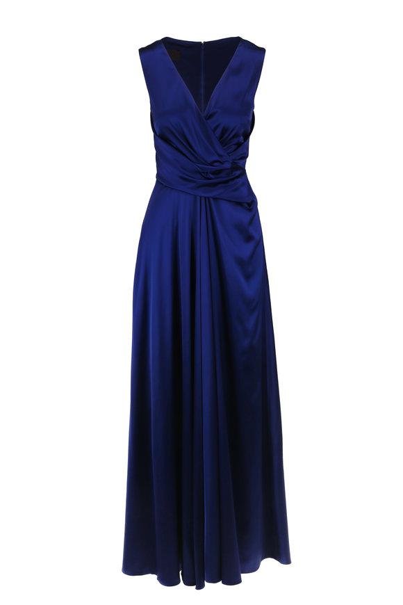 Talbot Runhof Pokario1 Blue Satin Sleeveless Gown