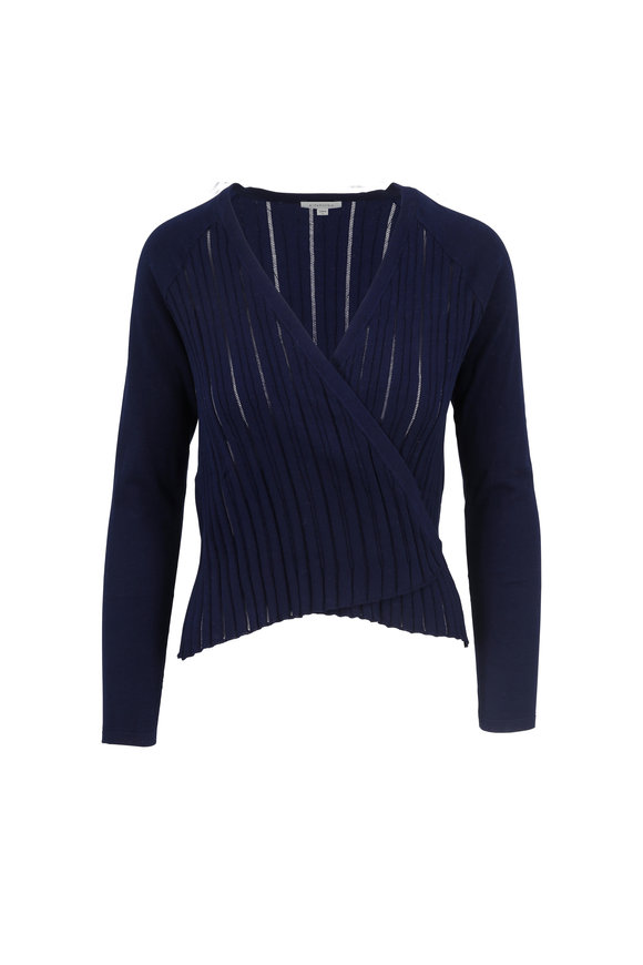 Kinross Navy Blue Cotton Open Cardigan