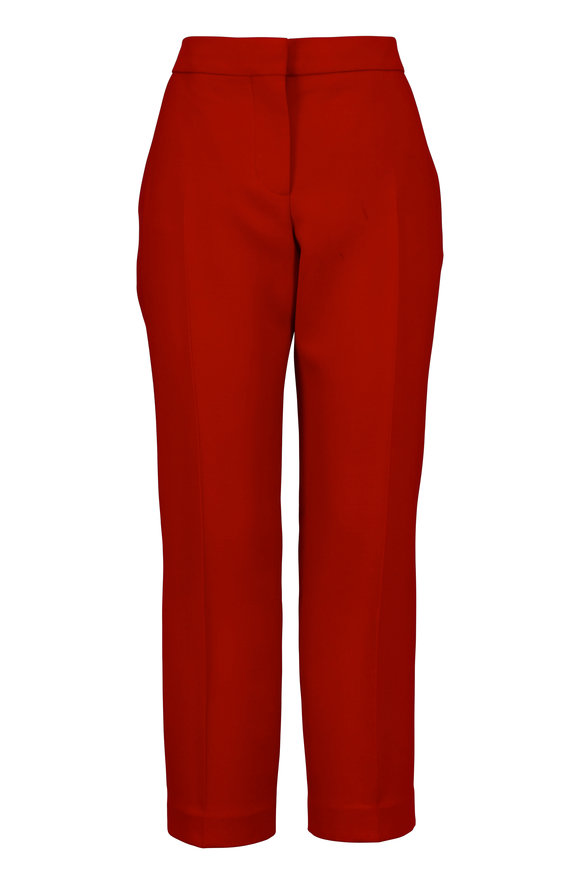 Alexander McQueen Red Skinny Cropped Pant