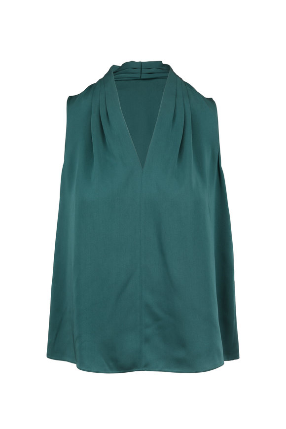 Paule Ka Emerald Satin Sleeveless Blouse