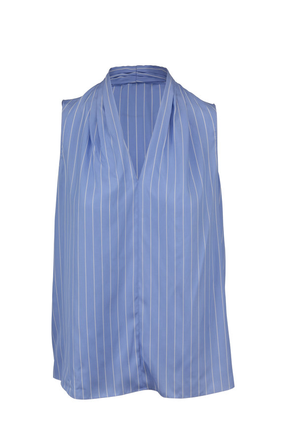Paule Ka Light Blue Striped Silk Sleeveless Blouse