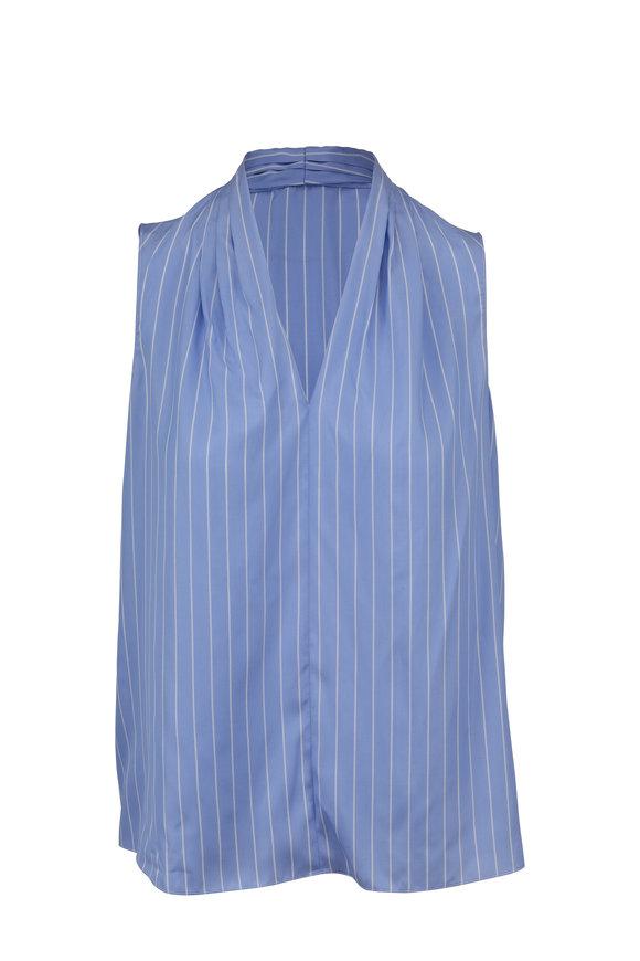 Paule Ka Light Blue Striped Silk Sleeveless Blouse