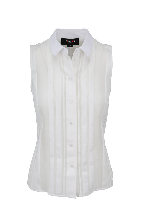 Paule Ka White Striped Detail Sleeveless Blouse