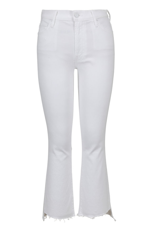 Mother Denim White Insider Crop Step Fray Jean