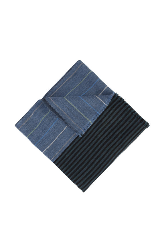 Paul Smith Teal Wool & Silk Striped Scarf