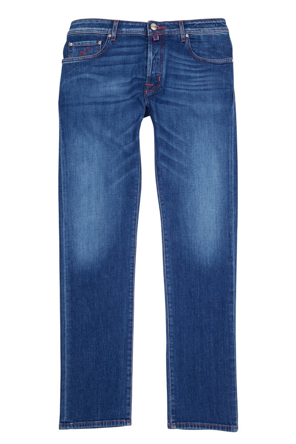 Jacob Cohen  Denim Blue Contrast Red Stitch Patch Slim Jean
