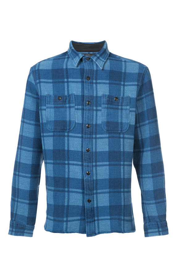 RRL Farrell Indigo Plaid Work Shirt