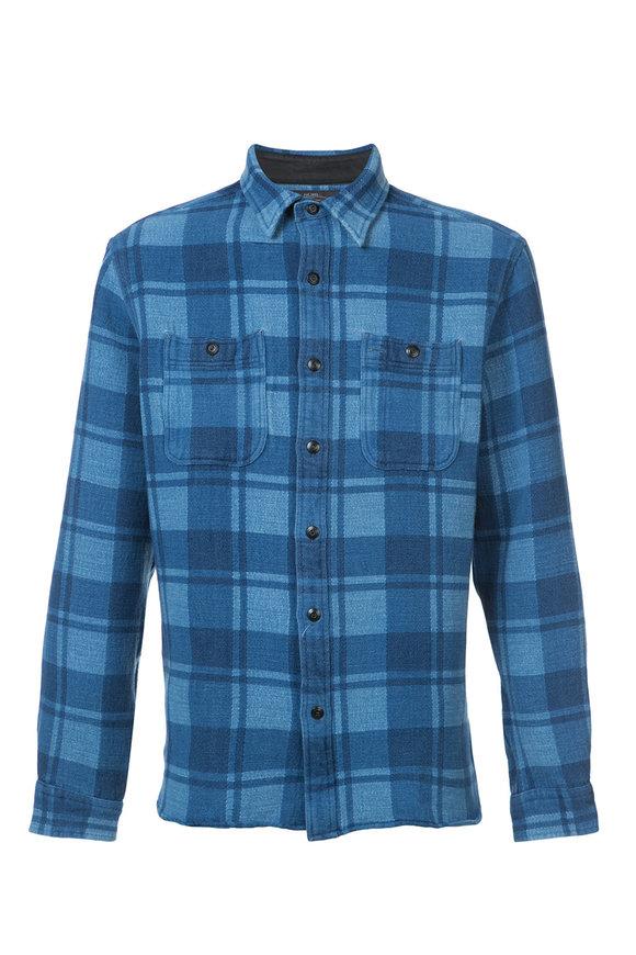 RRL Farrell Indigo Plaid Work Shirt