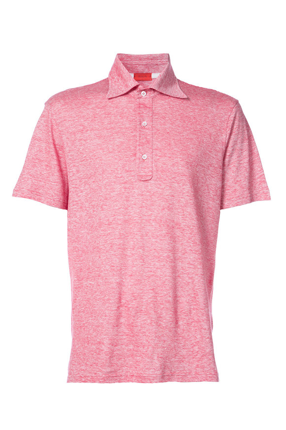 Isaia Red Short Sleeve Jersey Polo