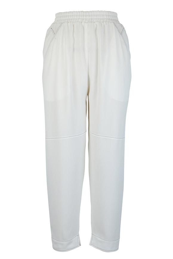 Agnona White Matte Crêpe Satin Judo Pant