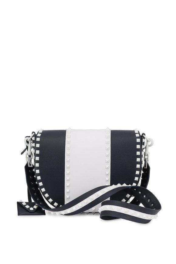 Valentino Free Rockstud Navy & White Two-Tone Shoulder Bag