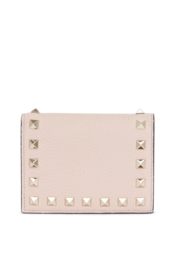 Valentino Rockstud Poudre Leather French Wallet