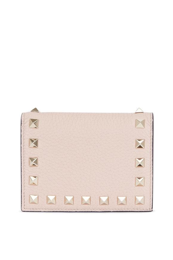 VALENTINO GARAVANI Rockstud Poudre Leather French Wallet