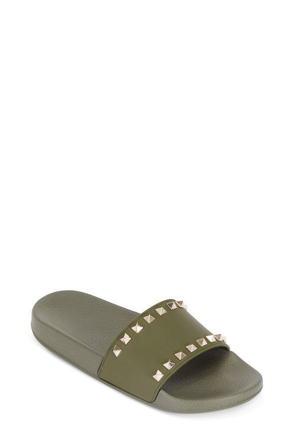 Valentino Garavani Rockstud Army Green PCV Slide