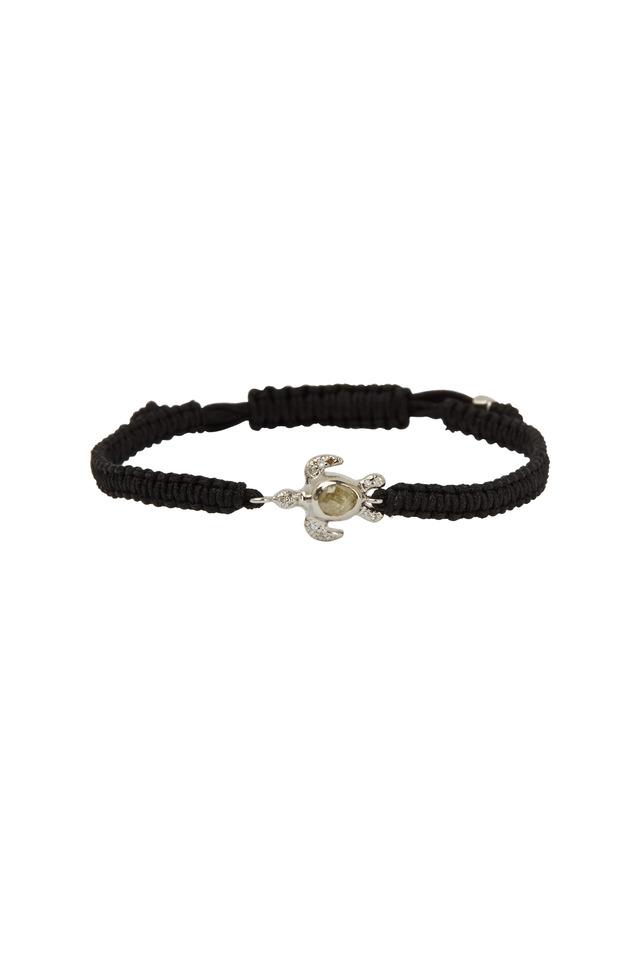 White Gold Turtle Black Macrame Bracelet