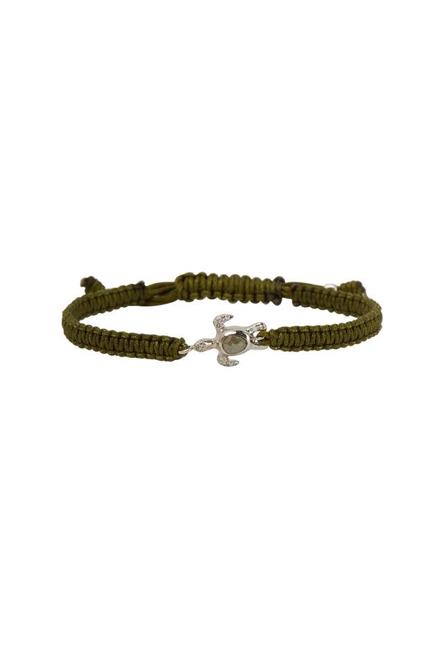 White Gold Turtle Green Macrame Bracelet